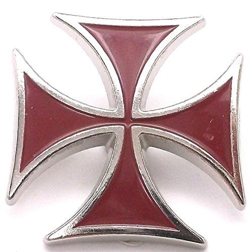 Red Epoxy Iron Cross Screw Back Concho 1