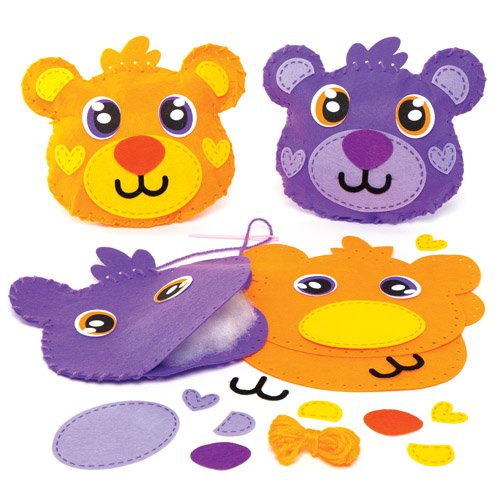 Baker Ross Teddy Bear Cushion Sewing Kits for Children to Make Decorate and Display - Creative Craft Set for Kids (Pack of 2)