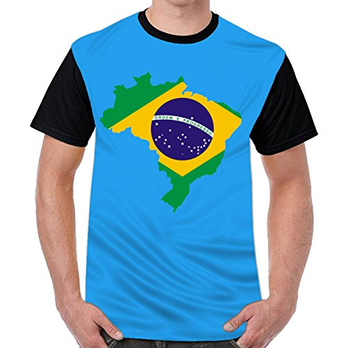 FunnyKing Brazil Flag Map Mens Funny T-Shirts Casual Tops Royal (Pre Owned Vinyl)