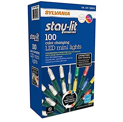 Sylvania Lights 957984 B015QCU6UK Christmas Lights 3-Function Changing Warm White Multi Color Conn