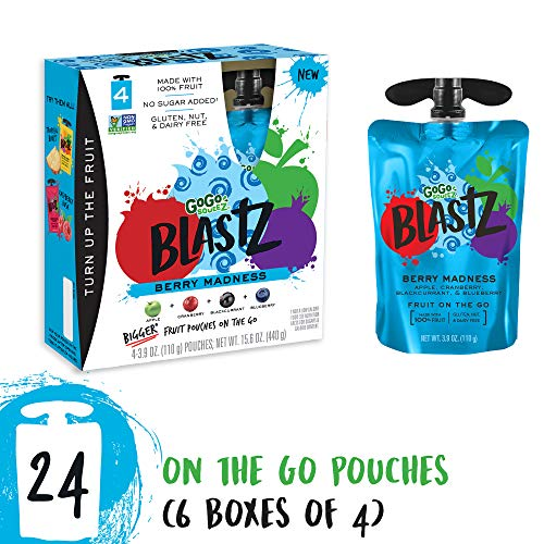 Cheap GoGo SqueeZ BlastZ Fruit Pouches on the Go, Berry Madness, 3.88 Ounce Portable BPA-Free Pouches, Gluten-Free, 24 Total Pouches (6 Boxes with 4 Pouches Each)
