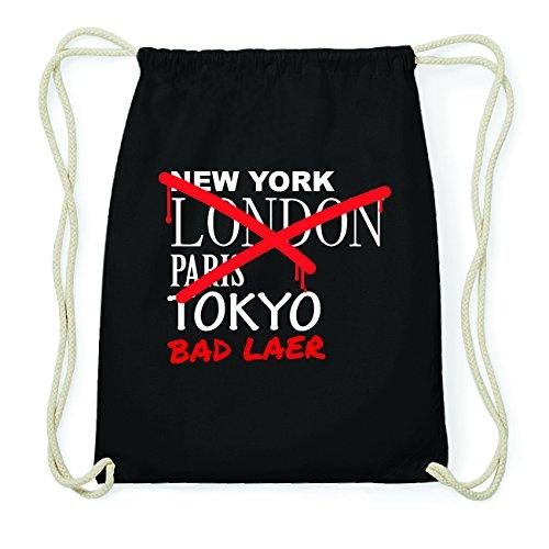 JOllify BAD LAER Hipster Turnbeutel Tasche Rucksack aus Baumwolle - Farbe: schwarz Design: Grafitti