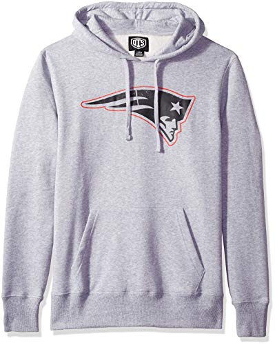 (NFL New England Patriots Male OTS Bravo Fleece Hoodie Distressed, Slate Grey, Small)
