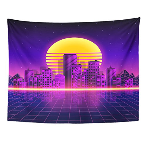 Emvency Tapestry Pink Grid Retro Neon City Style 80'S Purple Landscape Night Home Decor Wall Hanging for Living Room Bedroom Dorm 60x80 Inches -