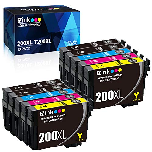 E-Z Ink (TM) Remanufactured Ink Cartridge Replacement for Epson 200XL 200 XL T200XL to use with XP-200 XP-300 XP-310 XP-400 XP-410 WF-2520 WF-2530 WF-2540 4 Black, 2 Cyan, 2 Magenta, 2 Yellow, 10 Pack (Epson Xp200 Ink Cartridges)