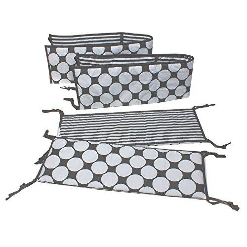 Dots/Pin Stripes Grey/Yellow Bumper Pad