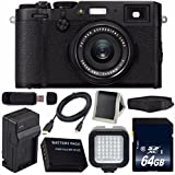 Fujifilm X100F Digital Camera (Black) International Model 16534651 + NPW-126 Replacement Lithium Ion Battery + External Rapid Charger + 64GB SDXC Class 10 Memory Card + Micro HDMI Cable Bundle