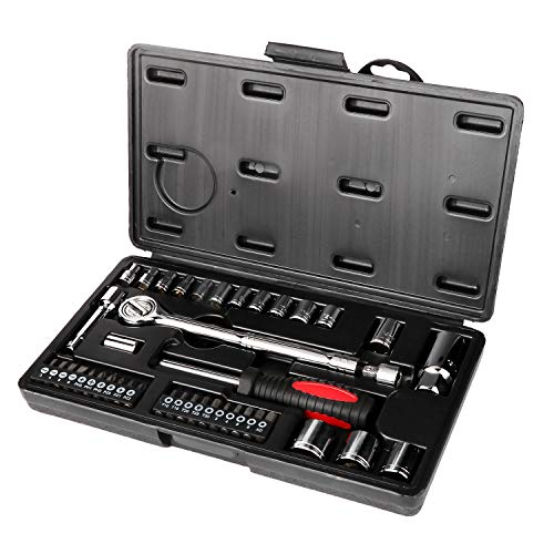 - GETUHAND 42 Piece 1/4 and 3/8 Drive Metric Socket Wrench Set, spark plug socket, Ratchet Handle, Extension Bars, Torx, Philips Bits, Bit Adapter, and Carrying Case