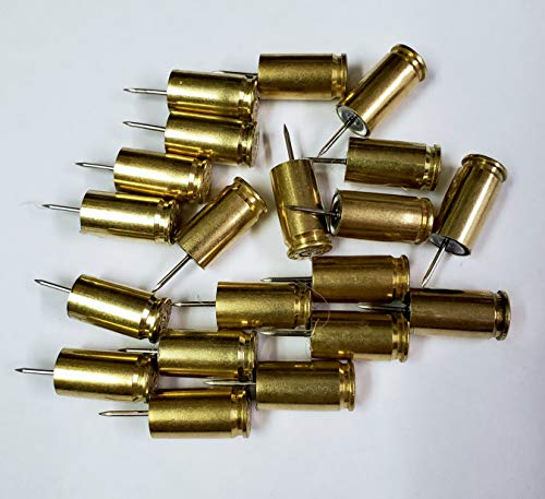 Box of 20-9mm Bullet Casing Thumb Tack Push Pins Hunter Shooter Marksman Gun Enthusiasts Reloader ()