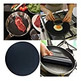 callm High Temperature Non-Stick Pan Frying Pan Liner Frying Pan Pad Heat Resistant Non-Stick Cooking Liner Frying Pan Mats Pads Reusable and Easy to Clean Kitchen Cooking Tools (Black,1Pcs)