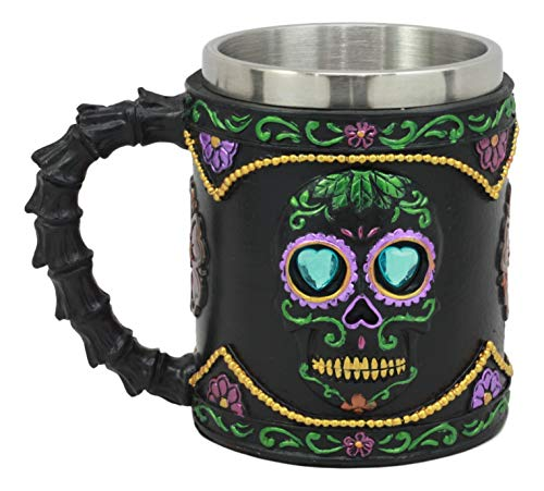 Ebros Gothic Black Day of The Dead Sugar Skull Mug 11 Oz Art Silhouette In Bright Floral Colors Drink Safe Coffee Cup As Halloween Haunted Theme Party Decor Ice Breaker -