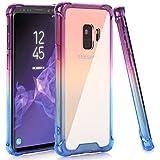 BAISRKE Galaxy S9 Case, Blue Purple Gradient Shock Absorption Flexible TPU Soft Edge Bumper Anti-Scratch Rigid Slim Protective Cases Hard Plastic Back Cover for Samsung Galaxy S9 (2018)