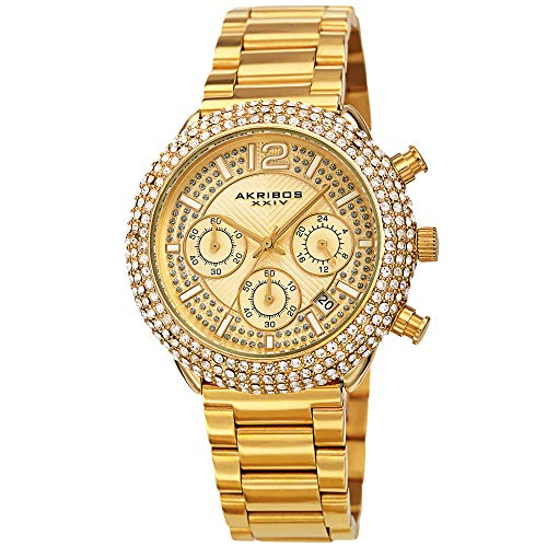 Akribos XXIV Men's Multifunction Chronograph Watch - Encrusted with Beautiful Sparkling Crystals - Stainless Steel Link Bracelet - AK1075 (Sparkling Yellow Gold) (Akribos Watch Links)
