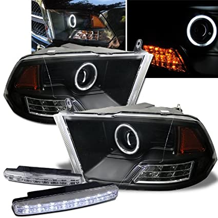 amazon com: 2009-2011 dodge ram 1500 halo headlights projector + 8 led fog  bumper light: automotive