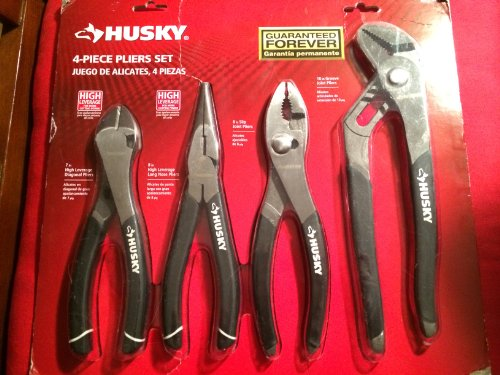 Husky 861461 4 Piece High Leverage Multi-Use Pliers Set with Diagonal, Long Nose, Slip Joint, and Groove Joint Pliers (Joint Pliers Slip Groove)