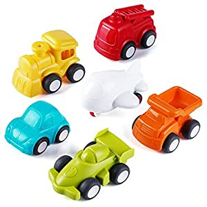 VATOS Toddler toys Vehicles, 6 Pack Toy Car Free Wheel, City Traffic Vehicles Sets, Little Car Toy, push and go Toy cars, Inertia Toy Early Educational Toddler Toys for 1.5-4 Years Old Boys and Girls