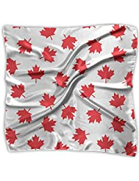 Women Vintage Canadian Canada Maple Leaf Pattern Print Square Handkerchiefs Bandanas Head & Neck Tie Scarf M