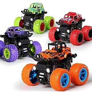 SaleON 4pc Toys for Kids Unbreakable Toys for Kids Friction Powered Toddler Toys Best Gift for Boys die cast Mini Monster Trucks Set for Kids