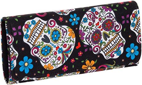 Pretty Sugar Skulls & Flower Tri Fold Clutch Wallet ()