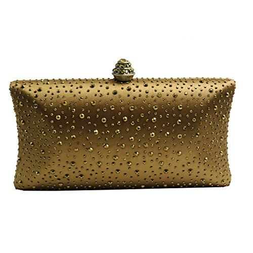 Bronze Fabric Handbags (DMIX Womens Crystal Clutch Bag and Evening Bag for Wedding Bridal Prom Bronze)