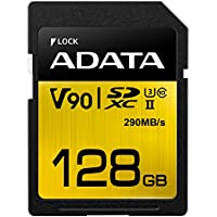 ADATA Premier ONE 128GB SDXC UHS-II U3 Class10 V90 3D NAND 4K 8K Ultra HD 290MB/s SD Card (ASDX128GUII3CL10-C)