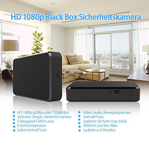 HaWoTEC Full HD Videorekorder Überwachungskamera Blackbox Aufnahmegerät mit Versteckte Spy Kamera 90° 5 Megapixel Audio 64 GB (1920 x 1080 Pixel)