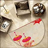 Lantern Semicircular Cushion Japanese Inspired Celebration Image with Lovely Colors Old Paper Theme Entry Door Mat H 59'' xD 88.6'' Hot Pink Pale Yellow