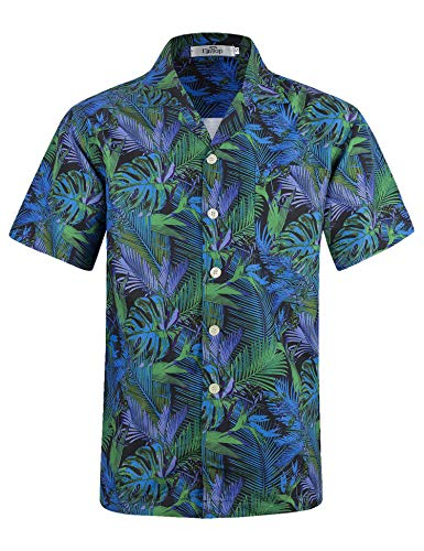 Men's Hawaiian Shirt Short Sleeve Aloha Shirt Beach Party Flower Shirt Holiday Print Casual Shirts Leaf Green EHS002-XL (Leaves Mens Aloha Shirt)