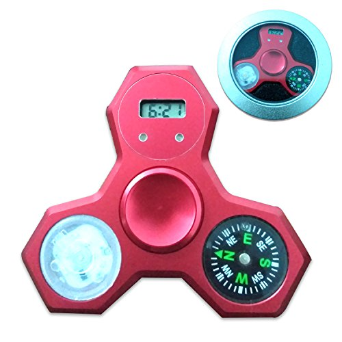 Price comparison product image Fidget Spinner Light Up Compass Clock LED Flash Hand Spinner 3 in 1 Focus Toys Hybrid Ceramic Bearing Ultra Durable (red)