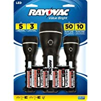 Rayovac Value Bright 27 Lumen 2D LED Rubberized Flashlight and Two 18 Lumen 2AA LED Rubberized Flashlights Combo Pack with Batteries (BRSLED3PK-BTPA) by Rayovac