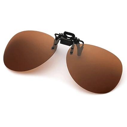 HUACANG Gafas de Sol con Clip, Gafas de Sol polarizadas con Solapa UV400 para Hombre