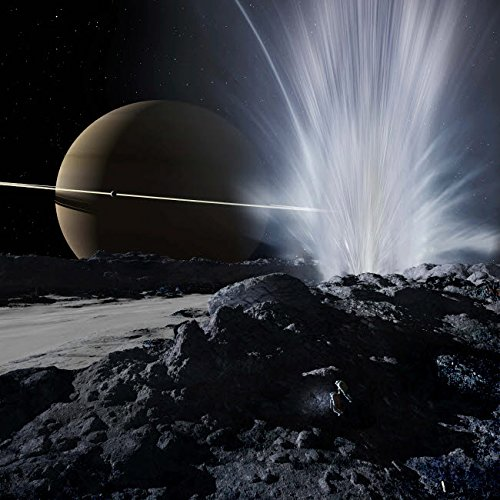 24 x 24 Explorers examine one of the great fissures from which Enceladus geysers erupt Poster Print by Ron MillerStocktrek Images