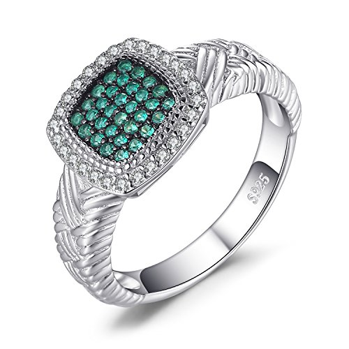 (JewelryPalace Fashion Round Simulated Nano Russian Emerald Cocktail Ring 925 Sterling Silver Size 6)