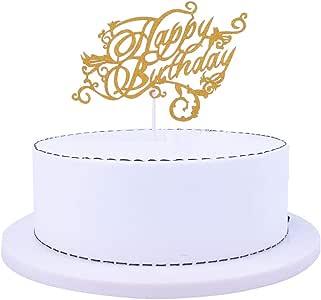 SHAMI Happy Birthday Cake Topper, 1st First Happy Birthday Cupcake Topper, Glitter Gold Birthday Decorations