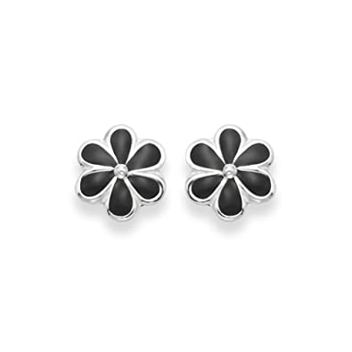 0f540c533 Sterling Silver Flower Earrings - Black Enamel Daisy Stud earrings -  SIZE:7mm. Gift Boxed. 5578BLK: Amazon.co.uk: Jewellery