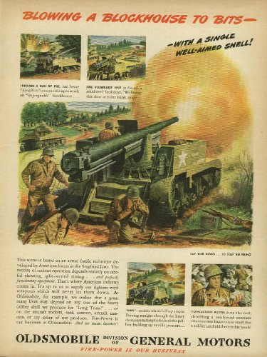 Blowing a Blockhouse to Bits Long Tom Cannon Oldsmobile ad 1945 (Cannon Tom)