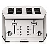 KRUPS KH734D Breakfast Set 4-Slice Toaster with Brushed and Chrome Stainless Steel Housing, Silver