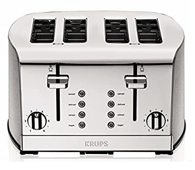 KRUPS KH734D Breakfast Set 4-Slot Toaster with Brushed and Chrome Stainless Steel Housing, 4-Slices, Silve