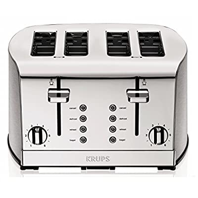 KRUPS KH734D Breakfast Set 4-Slot Toaster with Brushed and Chrome Stainless Steel Housing, 4-Slices with Dual Independent Control Panel, Silver