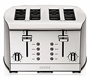 KRUPS KH734D Breakfast Set 4-Slot Toaster with Brushed and Chrome Stainless Steel Housing, 4-Slices, Silver