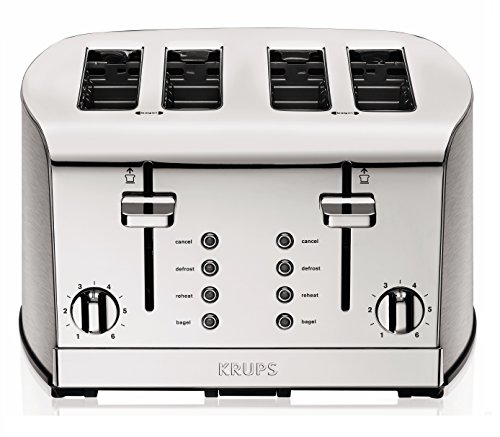 KRUPS KH734D Breakfast Set 4-Slot Toaster with Brushed and Chrome Stainless Steel Housing, 4-Slices, Silver image