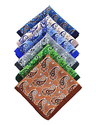 (JEMYGINS 6PCS Green Brown Gray Blue Paisley Silk Pocket Squares for Men Handkerchief Hanky Set (4))
