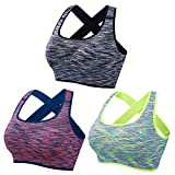 EMY Crossback Sports Bra Space Dye 1 or 3 Pack Yoga Bra Seamless Removable Pads For Jogging Running Workout Fitness Crossfit