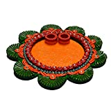 eCraftIndia Papier Mache Decorative Pooja Thali