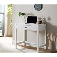Kings Brand White Finish Wood Home & Office Workstation Computer Desk With Storage Drawer