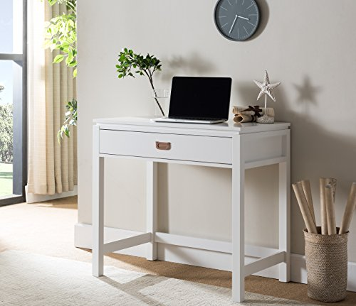 Kings Brand White Finish Wood Home Office Workstation Computer Desk with Storage Drawer