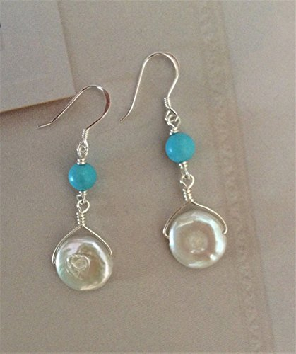 Artisan Silver Wire-wrapped Cultured Freshwater Pearl and Turquoise Howlite Earrings