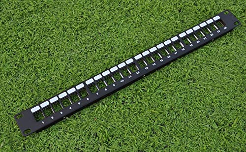 (Connectors 24 Ports Unloaded Keystone Patch Panel - Cable Faceplate 24Port Blank Patch Panel for Keystone Jacks - (Cable Length: 24Port))