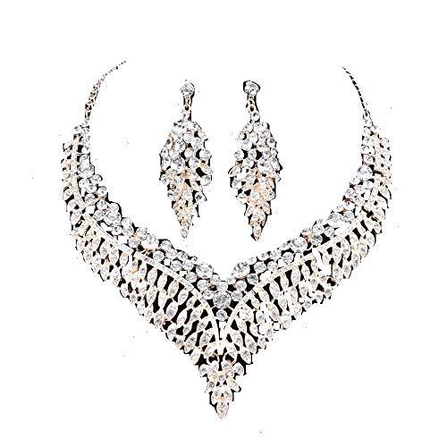 Women Bridal Rhinestone Crystal Statement Necklace Earring Wedding Dress Jewelry Sets (White1)