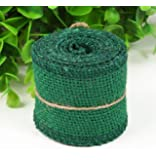 Huachnet Natural Jute Burlap Ribbon Roll Fabric for Wedding Party Home DIY Decoration-Pack of 1 (Chistmas Green)